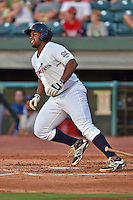 Huntsville Stars designated hitter Jason Rogers #7 runs to first during the Southern League All Star game at AT&T Field on June 17, 2014 in Chattanooga, Tennessee. The Southern Division defeated the Northern Division 6-4. (Tony Farlow/Four Seam Images)