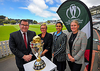 From left, NZ Minister for Sport and recreation Grant Robertson, ICC Women's Cricket World Cup chief executive Andrea Nelson, Wellington Blaze and Student Lead of the Cricket Wellington Youth Leaders Programme Dhriti Girish and Cricket Wellington general manager and former White Fern Liz Green. 2022 Women's Cricket World Cup tournament venues presser at the Basin Reserve in Wellington, New Zealand on Tuesday, 17 November 2020. Organisers for the 2022 Women's Cricket World Cup are welcoming a $2 million funding boost that will go towards upgrading player facilities at the five New Zealand venues for the tournament. Photo: Dave Lintott / lintottphoto.co.nz