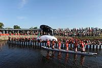 Africa ZAMBIA Barotseland , Zambezi floodplain , Kuomboka ceremony in Limulunga, the Lozi king Lubosi Imwiko II. also called Litunga, change his residence after raining time with the royal bark Nalikwanda  to his palace in Limulunga
