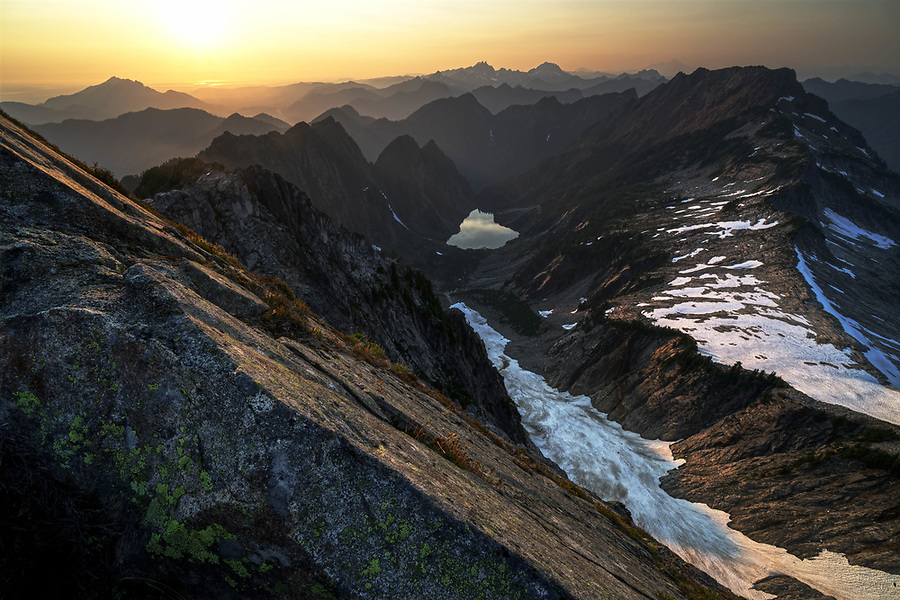 View of Copper Lake, Big Four Mountain, Little Chief Peak and other mountains from Vesper Peak, Central Cascade Mountains, Washington, USA
