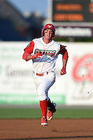 Williamsport Crosscutters outfielder Cord Sandberg (17) running the bases during a game against the Aberdeen IronBirds on August 4, 2014 at Bowman Field in Williamsport, Pennsylvania.  Aberdeen defeated Williamsport 6-3.  (Mike Janes/Four Seam Images)