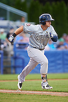Staten Island Yankees designated hitter Nathan Mikolas (39) runs to first during a game against the Batavia Muckdogs on August 27, 2016 at Dwyer Stadium in Batavia, New York.  Staten Island defeated Batavia 13-10 in eleven innings.  (Mike Janes/Four Seam Images)
