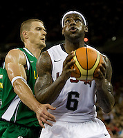 US forward (6) LeBron James moves to the basket past  Lithuania center (15) Robertas Javtokas while playing at the Cotai Arena inside the Venetian Macau Resort and Hotel.  The US defeated Lithuania, 120-84.