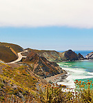 South Big Sur near San Simeon.  Along the magnificent Big Sur California coastline the Pacific Ocean washes steep cliffs and sea stacks, rock arches and sandy coves in a dramatic  seascape along California State HIghway 1 between Monterey and San Luis Obispo, California on the Central Coast.