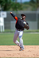 Miami Marlins Anfernee Seymour (12) during a minor league Spring Training intrasquad game on March 31, 2016 at Roger Dean Sports Complex in Jupiter, Florida.  (Mike Janes/Four Seam Images)