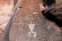 Authentic Hawaiian petroglyphs of human figures and a canoe sail, Olowalu, Maui