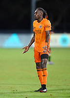 LAKE BUENA VISTA, FL - JULY 18: Alberth Elis #7 of the Houston Dynamo reacts to receiving a second yellow card and a subsequent red card during a game between Houston Dynamo and Portland Timbers at ESPN Wide World of Sports on July 18, 2020 in Lake Buena Vista, Florida.