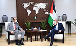 Palestinian Prime Minister Mohammed Ishtayeh, meets with the new Belgian Consul, Wilfried Pfeiffer, in the West bank city of Ramallah on October 6, 2021. Photo by Prime Minister Office