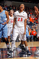 CHARLOTTESVILLE, VA- JANUARY 5: Ataira Franklin #23 of the Virginia Cavaliers reacts to a call during the game against the North Carolina Tar Heels on January 5, 2012 at the John Paul Jones arena in Charlottesville, Virginia. North Carolina defeated Virginia 78-73. (Photo by Andrew Shurtleff/Getty Images) *** Local Caption *** Ataira Franklin