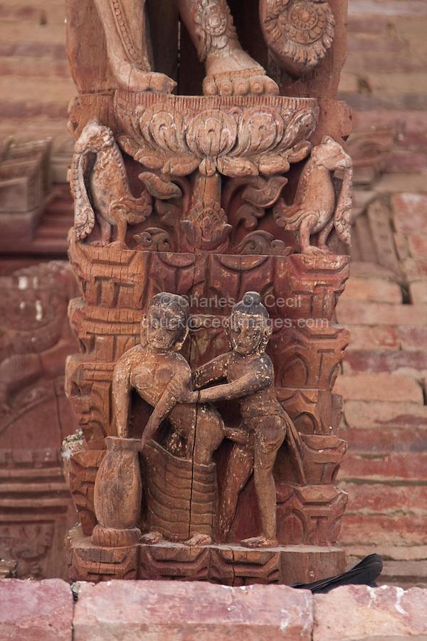 Kathmandu, Nepal.  Jaganath Temple, Dedicated to Krishna, with Erotic Carvings Showing Human Copulation.  16th. Century.  Durbar Square.