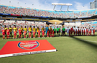 CHARLOTTE, NC - JULY 20: Arsenal and ACF Fiorentina prior to the match during a game between ACF Fiorentina and Arsenal at Bank of America Stadium on July 20, 2019 in Charlotte, North Carolina.