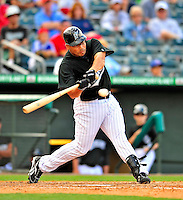 1 March 2009: Florida Marlins' infielder John Lindsey in action during a Spring Training game against the St. Louis Cardinals at Roger Dean Stadium in Jupiter, Florida. The Cardinals outhit the Marlins 20-13 resulting in a 14-10 win for the Cards. Mandatory Photo Credit: Ed Wolfstein Photo