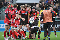 20130303 Copyright onEdition 2013©.Free for editorial use image, please credit: onEdition..Joel Tomkins of Saracens is congratulated by team mates after scoring a try during the Premiership Rugby match between Saracens and London Welsh at Allianz Park on Sunday 3rd March 2013 (Photo by Rob Munro)..For press contacts contact: Sam Feasey at brandRapport on M: +44 (0)7717 757114 E: SFeasey@brand-rapport.com..If you require a higher resolution image or you have any other onEdition photographic enquiries, please contact onEdition on 0845 900 2 900 or email info@onEdition.com.This image is copyright onEdition 2013©..This image has been supplied by onEdition and must be credited onEdition. The author is asserting his full Moral rights in relation to the publication of this image. Rights for onward transmission of any image or file is not granted or implied. Changing or deleting Copyright information is illegal as specified in the Copyright, Design and Patents Act 1988. If you are in any way unsure of your right to publish this image please contact onEdition on 0845 900 2 900 or email info@onEdition.com