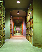 The Oremus winery in Tolcsva, Tokaj: the bottle aging cellar with thousands and thousands of bottles piled high in metal cages. Oremus is owned by the Alvarez family that also owns Vega Sicilia in Spain It is managed by Andras Bacso. Credit Per Karlsson BKWine.com