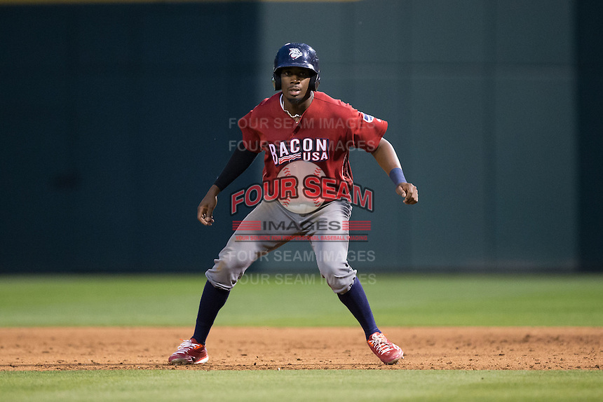 Darnell Sweeney (24) of the Lehigh Valley Iron Pigs takes his lead off of first base against the Charlotte Knights at BB&T BallPark on June 3, 2016 in Charlotte, North Carolina.  The Iron Pigs defeated the Knights 6-4.  (Brian Westerholt/Four Seam Images)