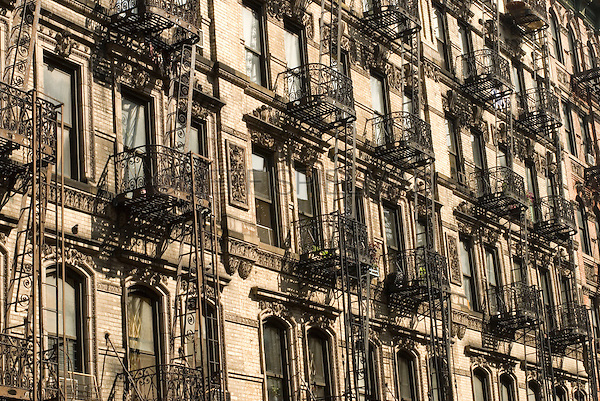 19th Century Tenement Apartment Buildings on New York City's Lower East Side, New York City, New York State, USA