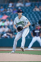 Gwinnett Stripers starting pitcher Kyle Wright (30) in action against the Charlotte Knights at Truist Field on July 15, 2021 in Charlotte, North Carolina. (Brian Westerholt/Four Seam Images)