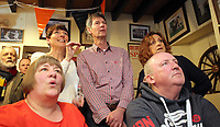 Pictured: Regulars watch the race on tv at Cresselly Arms pub in Cresswell Quay, Pembrokeshire, Wales, UK. Thursday 16 March 2017<br /> Re: A racehorse owned by a syndicate from Pembrokeshire which was a favourite to win at this year's Cheltenham Festival, has lost.<br /> Tobefair, a seven-year-old gelding, has won his last seven races.<br /> He was gifted as a colt to Michael Cole three years ago, in return for looking after two fillies on his farm.<br /> Unable to afford the training costs on his own, he decided to offer 50% of the ownership to people he knew through his local pub, the Cresselly Arms at Cresswell Quay Quay.<br /> The syndicate grew to 17 members but none except Mr Cole had owned a racehorse before.<br /> They said they were amazed when Tobefair started winning races and never dreamed he would make it to Cheltenham.