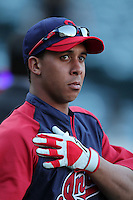 Michael Brantley #23 of the Cleveland Indians before game against the Los Angeles Angels at Angel Stadium in Anaheim,California on April 11, 2011. Photo by Larry Goren/Four Seam Images