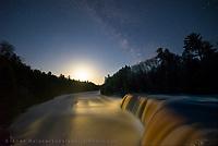 """""""Tahquamenon Dawn"""" Milky Way over Tahquamenon Falls"""