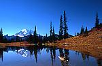 Mt. Rainier reflected in pond at Chinook Pass, Washington, Mt. Rainier National Park.