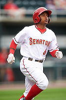 Harrisburg Senators shortstop Wilmer Difo (6) runs to first base during a game against the New Hampshire Fisher Cats on June 2, 2016 at FNB Field in Harrisburg, Pennsylvania.  New Hampshire defeated Harrisburg 2-1.  (Mike Janes/Four Seam Images)