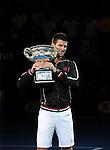 Novak Djokovic wins the final at the Australian Open in Melbourne Australia on January 29, 2012.