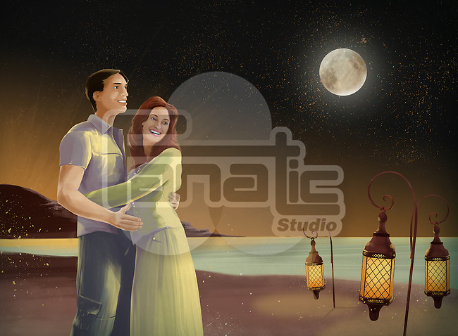 Illustrative image of couple embracing on beach at night