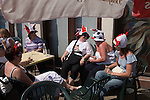 Hen party group 2000s UK Lady world cup football fans wearing traditional funny England hats drinking outside a pub. Southend on Sea  Essex 2006