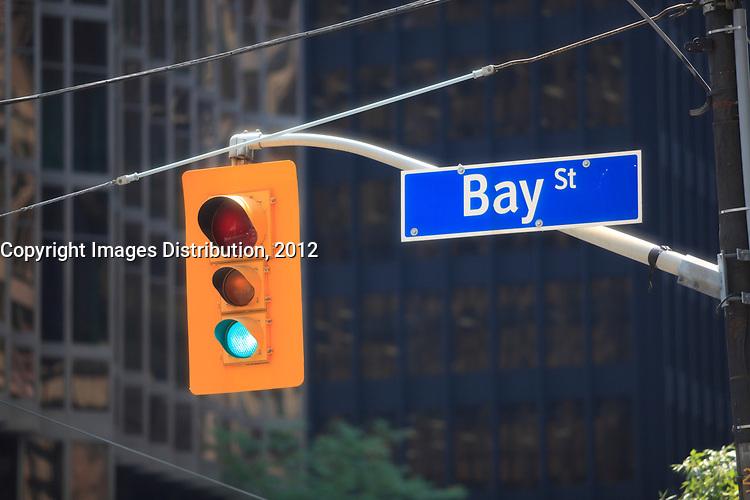 Toronto (ON) CANADA - July 2012 - Bay Street Financial District : green light