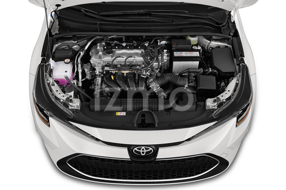 Car stock 2020 Toyota Corolla XLE 4 Door Sedan engine high angle detail view