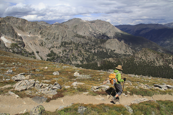 Hiker on the Flattop Mountain Trail in Rocky Mountain National Park, west of Estes Park, Colorado. .  John leads hikes and private photo tours in Boulder and throughout Colorado. Year-round.