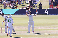 Kane Williamson celebrates his 100 runs during day two of the second International Test Cricket match between the New Zealand Black Caps and Pakistan at Hagley Oval in Christchurch, New Zealand on Monday, 4 January 2021. Photo: Martin Hunter / lintottphoto.co.nz