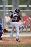 Miami Marlins left fielder Kyle Barrett (85) at bat during a minor league Spring Training game against the New York Mets on March 26, 2017 at the Roger Dean Stadium Complex in Jupiter, Florida.  (Mike Janes/Four Seam Images)