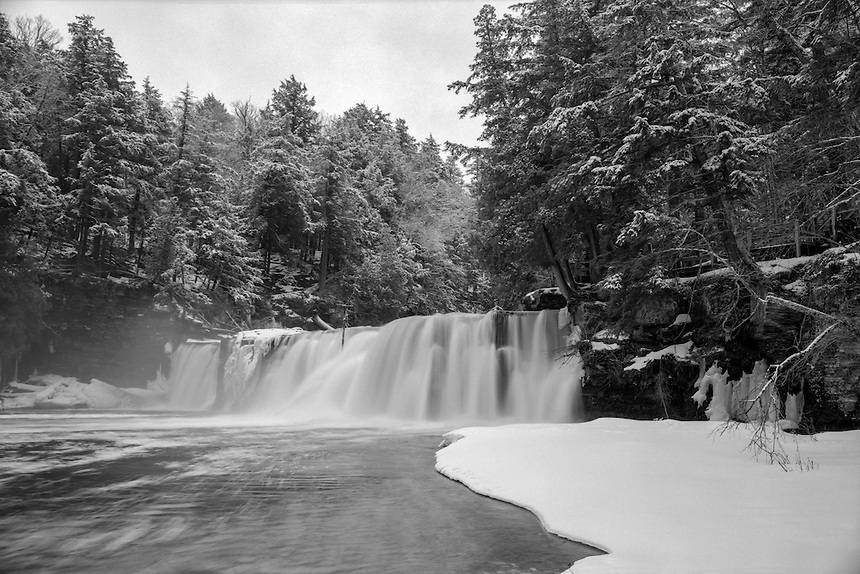 (Film) A winter view of Manabezho Falls in the Porcupine Mountains. Ilford 100 Delta Pro film