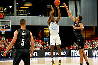 GRONINGEN - Basketbal, Donar - Apollo Amsterdam , Dutch Basketbal League, seizoen 2021-2022, 26-09-2021,  Donar speler Amanze Egekeze schiet driepunter
