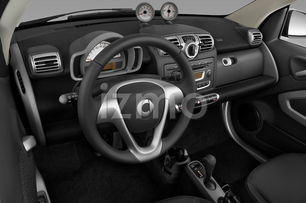 High angle dashboard view of a 2009 SmartForTwo Cabriolet