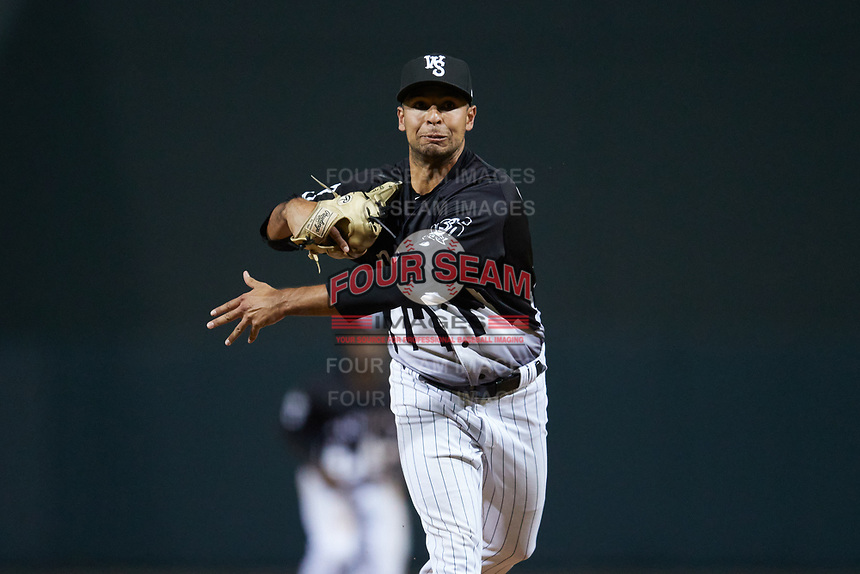 Winston-Salem Dash relief pitcher Ty Madrigal (20) follows through on his delivery against the Asheville Tourists at Truist Stadium on September 17, 2021 in Winston-Salem, North Carolina. (Brian Westerholt/Four Seam Images)