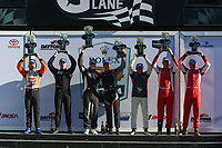#4 Ansa Motorsports Ligier JS P3, LMP3: Leo Lamelas, Neil Alberico, #47 Forty 7 Motorsports Norma M30, LMP3: Austin McCusker, Rodrigo Pflucker, #60 Wulver Racing Ligier JS P3, LMP3: Bruce Hamilton, Tonis Kasemets, Scott Maxwell, Podium