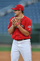 Pitcher Mike Shawaryn (24) of the Greenville Drive at the team's first workout of the season on Tuesday, April 4, 2017, at Fluor Field at the West End in Greenville, South Carolina. (Tom Priddy/Four Seam Images)