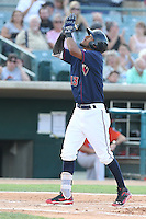 Danry Vasquez #13 of the Lancaster JetHawks celebrates after hitting a home run during a playoff game against the Inland Empire 66ers at The Hanger on September 7, 2014 in Lancaster, California. Lancaster defeated Inland Empire, 5-2. (Larry Goren/Four Seam Images)