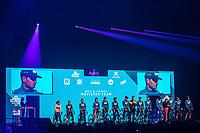 Team Movistar (men + women) pre race team presentation in the infamous 'Kuipke' velodrome. <br /> <br /> 75th Omloop Het Nieuwsblad 2020 (BEL)<br /> Men Elite Race<br /> Gent – Ninove: 200km<br /> <br /> ©kramon
