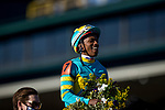 November 6, 2020: Ricardo Santana Jr. celebrates winning the Breeders Cup Juvenile Turf at Keeneland Racetrack in Lexington, Kentucky on November 6, 2020. Alex Evers/Eclipse Sportswire/Breeders Cup