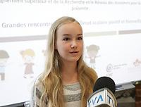 La Fondation Jasmin Roy et la jeune comedienne Emilie Bierre dit non a l'intimidation, 2 juin 2015<br /> <br /> PHOTO :  Agence Quebec Presse
