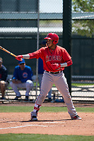 Los Angeles Angels third baseman Oliver Carmona (24) at bat during an Extended Spring Training game against the Chicago Cubs at Sloan Park on April 14, 2018 in Mesa, Arizona. (Zachary Lucy/Four Seam Images)