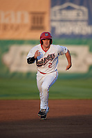 Auburn Doubledays right fielder Austin Guibor (2) runs the bases during a game against the State College Spikes on August 21, 2017 at Falcon Park in Auburn, New York.  Auburn defeated State College 6-1.  (Mike Janes/Four Seam Images)