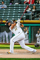 Juan Graterol (34) of the Salt Lake Bees at bat against the Memphis Redbirds in Pacific Coast League action at Smith's Ballpark on May 24, 2016 in Salt Lake City, Utah. The Bees defeated the Redbirds 7-5. (Stephen Smith/Four Seam Images)