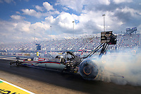 Sep 15, 2013; Charlotte, NC, USA; NHRA top fuel dragster driver Leah Pruett during the Carolina Nationals at zMax Dragway. Mandatory Credit: Mark J. Rebilas-