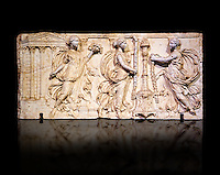Altar of the Twelve Gods a Roman relief sculpture. This curious object, perhaps a Zodiacal altar, has the signs of the zodiac and busts of the twelve gods identified by their attributes. From the Borghese Collection  Inv MR 959  (or Ma 666), The Louvre Mueum, Paris.