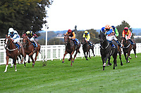 Winner of The Racing TV Handicap Stakes Mere Anarchy (Orange/white cap 2r) ridden by Kieran Shoemark and trained by Robert Stephens during Horse Racing at Salisbury Racecourse on 11th September 2020